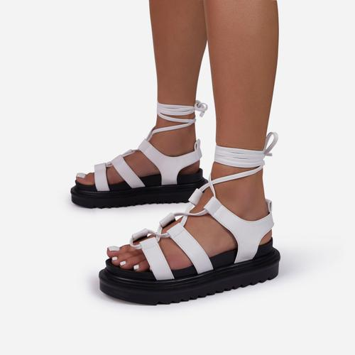 Don't-Hate Lace Up Chunky Sole Caged Flat Gladiator Sandal In White Faux Leather