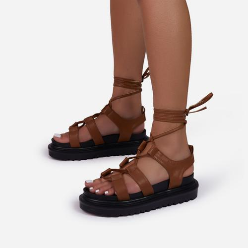Don't-Hate Lace Up Chunky Sole Caged Flat Gladiator Sandal In Tan Brown Faux Leather