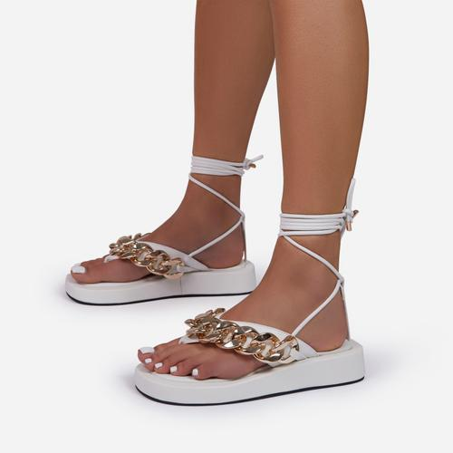 Hidden-Gems Chain Thong Detail Lace Up Platform Gladiator Sandal In White Faux Leather