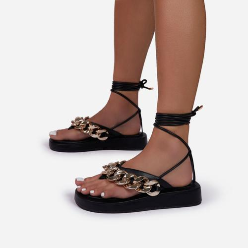 Hidden-Gems Chain Thong Detail Lace Up Platform Gladiator Sandal In Black Faux Leather