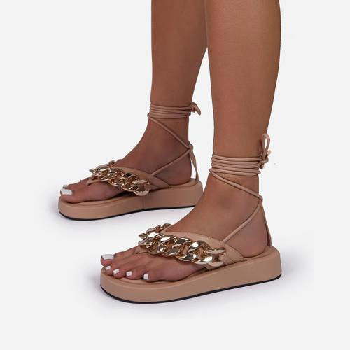 Hidden-Gems Chain Thong Detail Lace Up Platform Gladiator Sandal In Nude Faux Leather