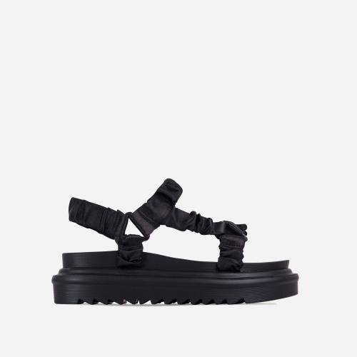 Louis Ruched Double Strap Chunky Sole Flat Dad Sandal In Black Satin