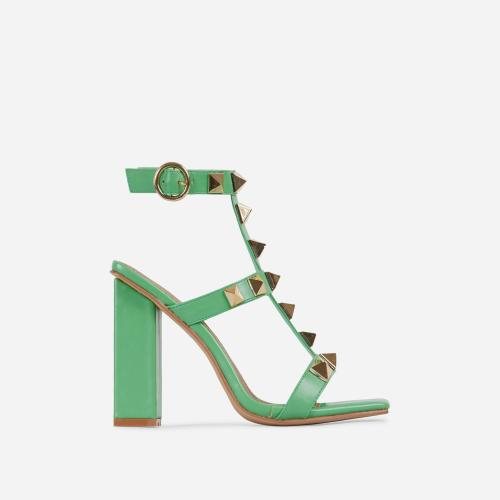 Malaga Studded Detail Caged Square Toe Block Heel In Green Faux Leather