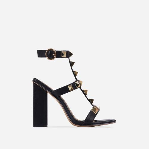 Malaga Studded Detail Caged Square Toe Block Heel In Black Faux Leather
