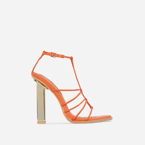 Mood Strappy Square Toe Block Metallic Heel In Orange Faux Leather