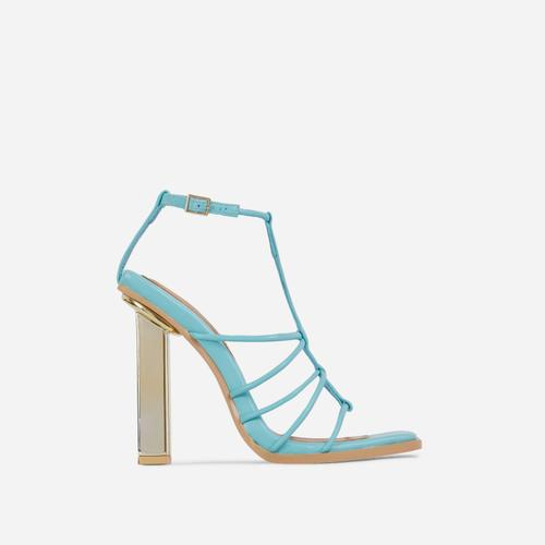 Mood Strappy Square Toe Block Metallic Heel In Turquoise Blue Faux Leather