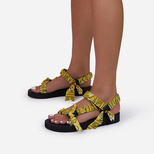 Tuson Double Strap Flat Dad Sandal In Yellow Bandana Print Fabric