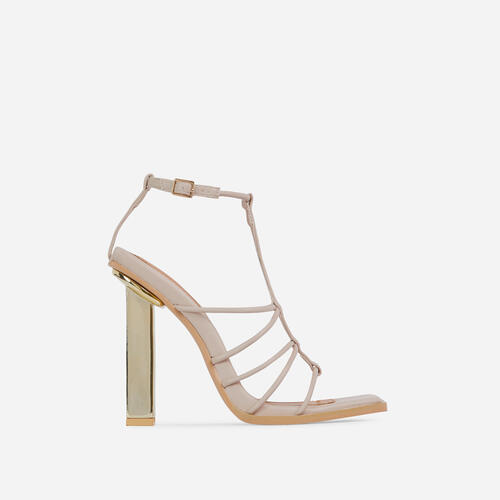 Mood Strappy Square Toe Block Metallic Heel In Beige Nude Faux Leather
