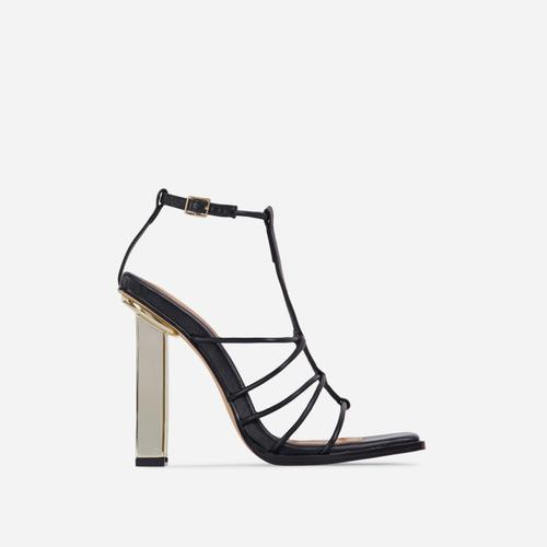 Mood Strappy Square Toe Block Metallic Heel In Black Faux Leather