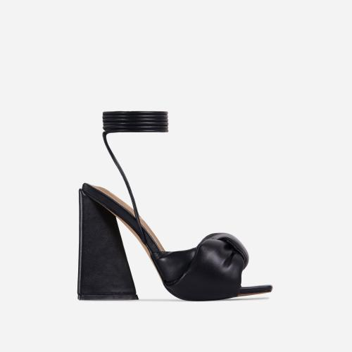 Cushy Knotted Detail Lace Up Square Peep Toe Sculptured Flared Block Heel In Black Faux Leather