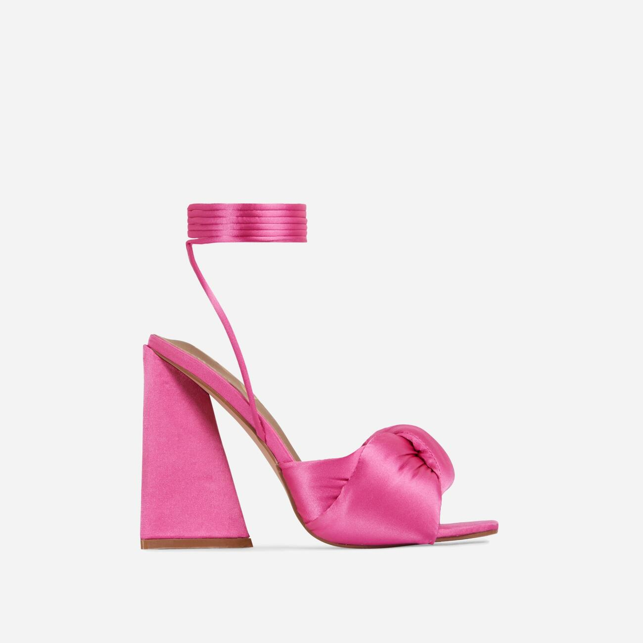 Cushy Knotted Detail Lace Up Square Peep Toe Sculptured Flared Block Heel In Fuchsia Pink Satin Image 1