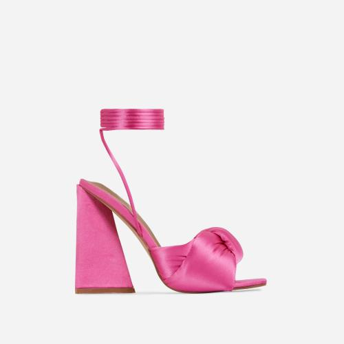 Cushy Knotted Detail Lace Up Square Peep Toe Sculptured Flared Block Heel In Fuchsia Pink Satin
