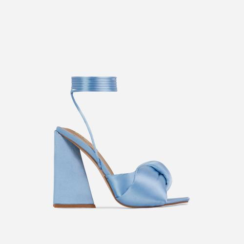 Cushy Knotted Detail Lace Up Square Peep Toe Sculptured Flared Block Heel In Light Blue Satin