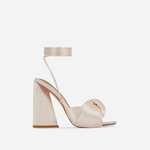 Cushy Knotted Detail Lace Up Square Peep Toe Sculptured Flared Block Heel In Nude Satin