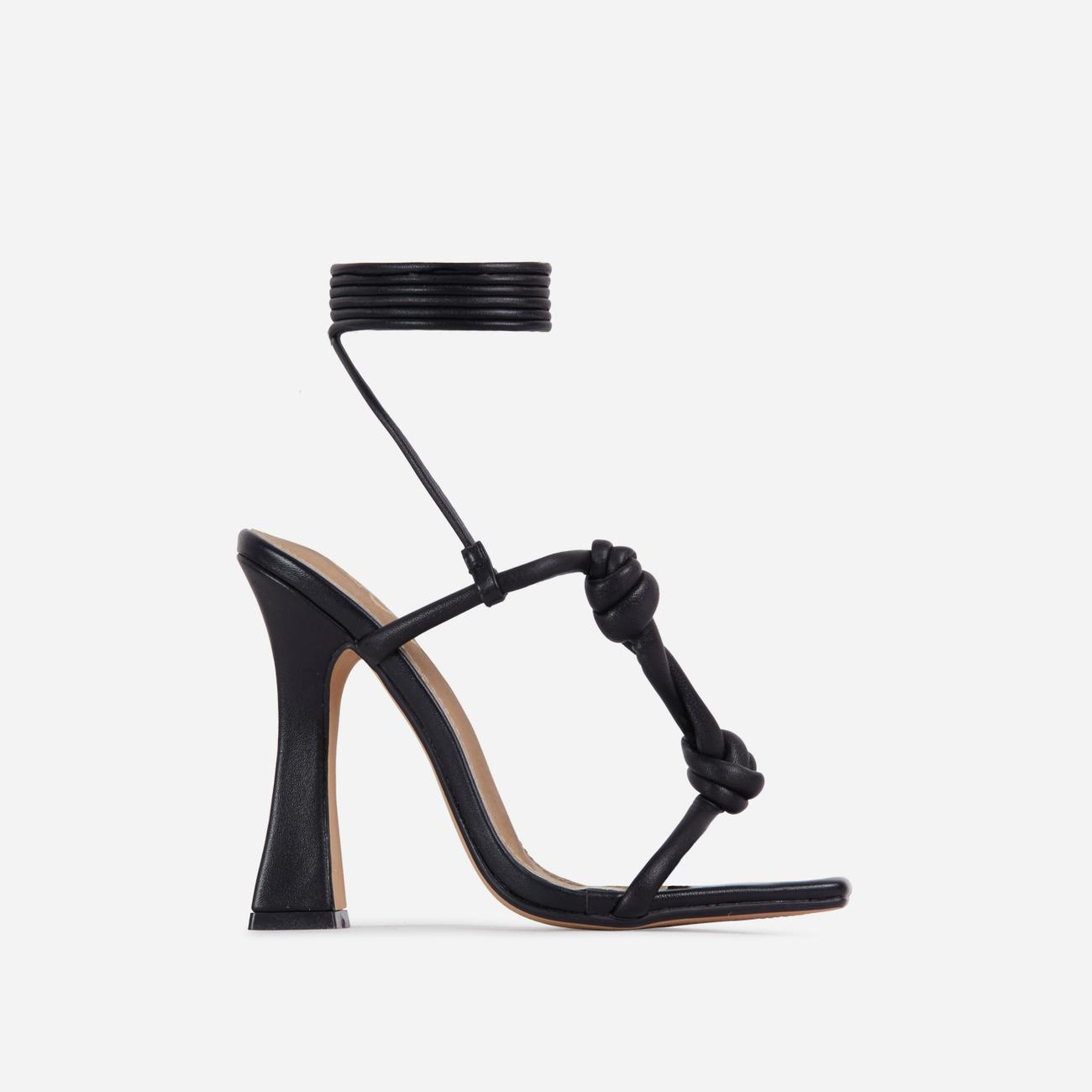 Set-Free Knotted Detail Lace Square Toe Flared Block Heel In Black Faux Leather Image 1