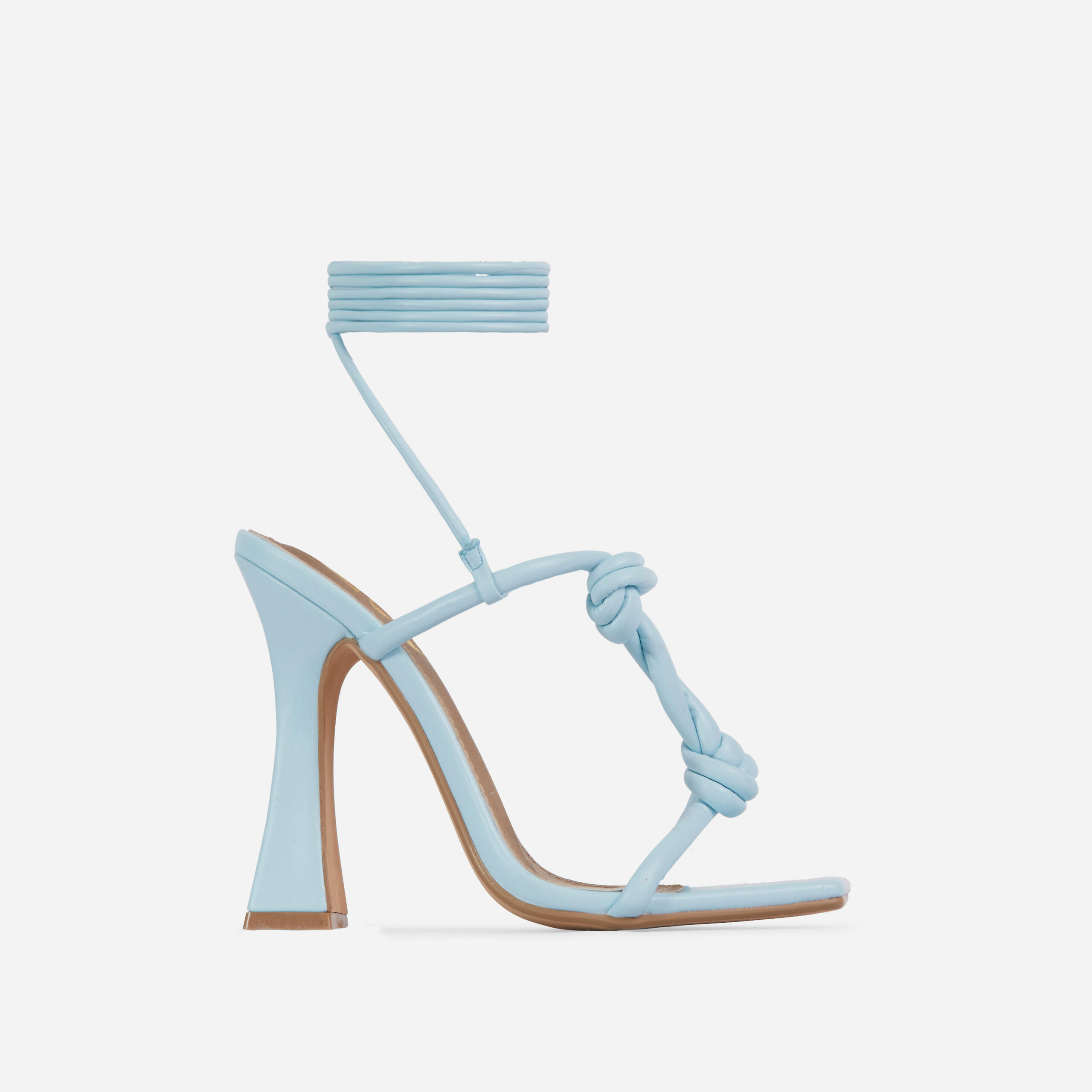 Set-Free Knotted Detail Lace Square Toe Flared Block Heel In Blue Faux Leather, Blue