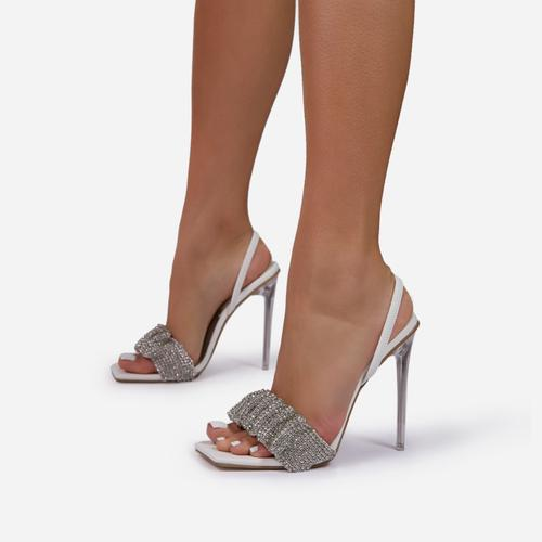 Dream-Girl Ruched Diamante Detail Square Peep Toe Sling Black Heel In White Faux Leather