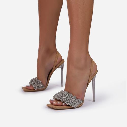 Dream-Girl Ruched Diamante Detail Square Peep Toe Sling Block Heel In Nude Faux Suede