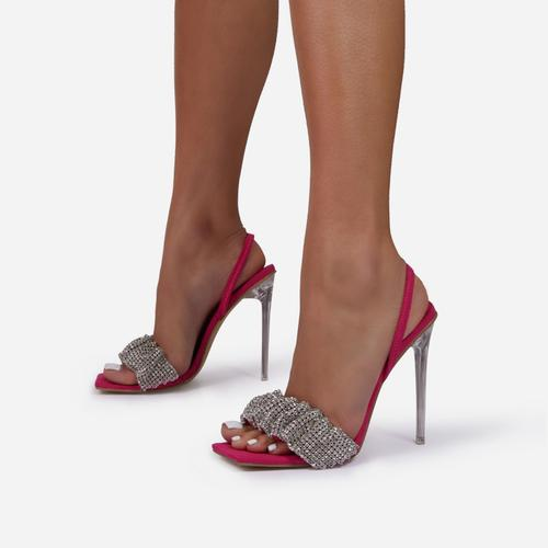 Dream-Girl Ruched Diamante Detail Square Peep Toe Sling Black Heel In Fuchsia Pink Faux Suede