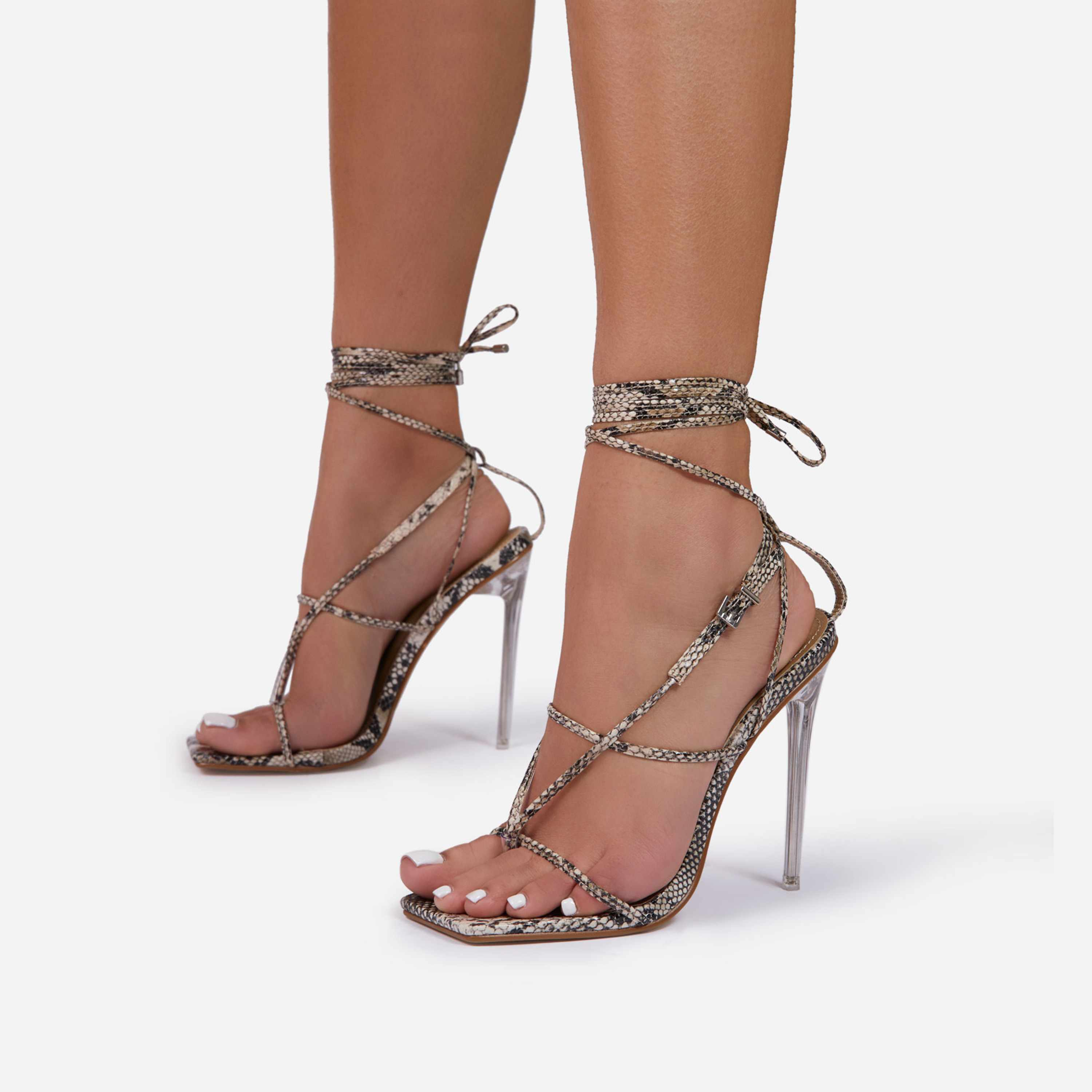 True Square Toe Lace Up Clear Perspex Heel In Nude Snake Print Faux Leather