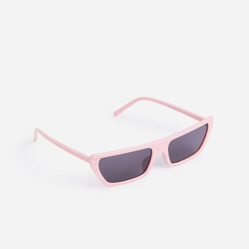 Narrow Rectangle Fashion Sunglasses In PInk
