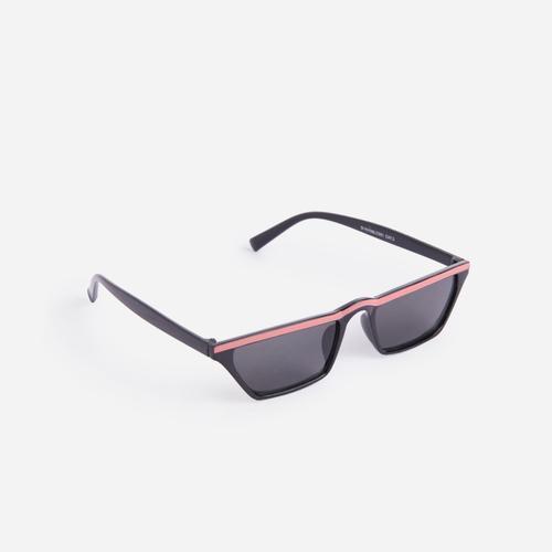Orange Stripe Detail Sporty Sunglasses in Black