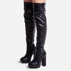 Chance Platform Thigh High Long Boot In Black Faux Leather