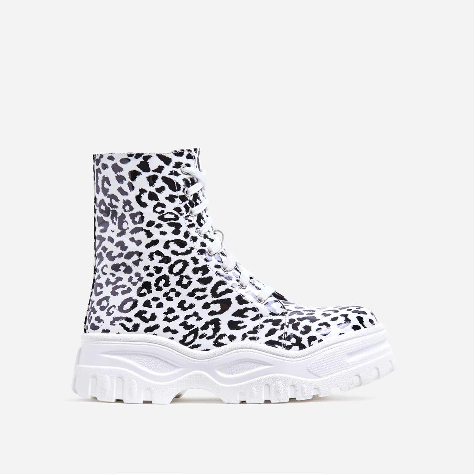 Teaser Chunky Sole Lace Up Ankle Biker Boot In White Leopard Print Faux Leather
