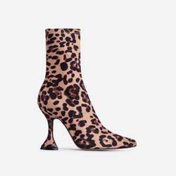 Flore Pyramid Heel Ankle Boot In Leopard Print Faux Suede
