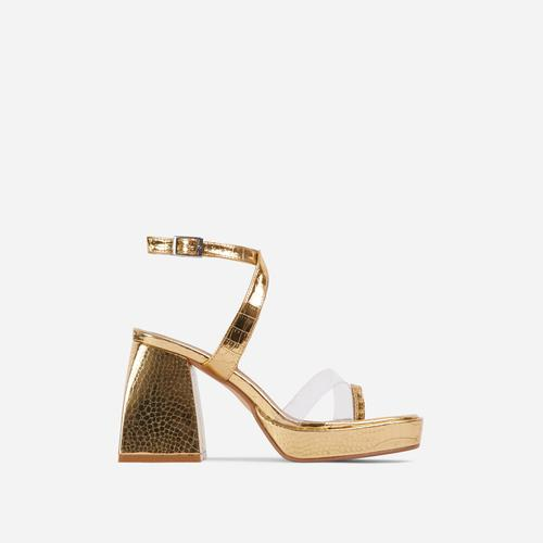 Boost Perspex Toe Strap Square Toe Platform Flared Block Heel In Gold Croc Print Faux Leather