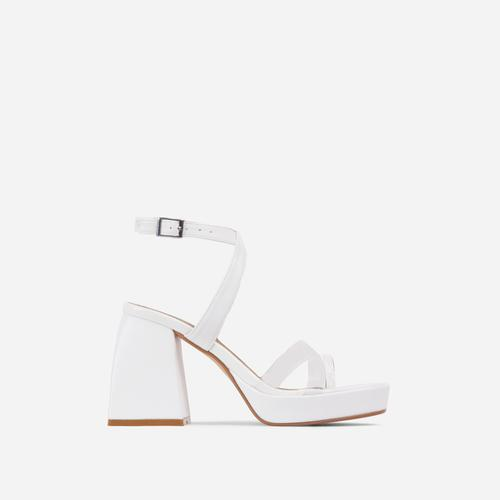 Boost Perspex Toe Strap Square Toe Platform Flared Block Heel In White Faux Leather