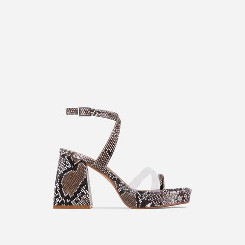 Boost Perspex Toe Strap Square Toe Platform Flared Block Heel In Nude Snake Print Faux Leather