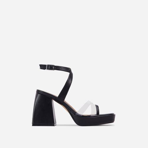 Boost Perspex Toe Strap Square Toe Platform Flared Block Heel In Black Faux Leather