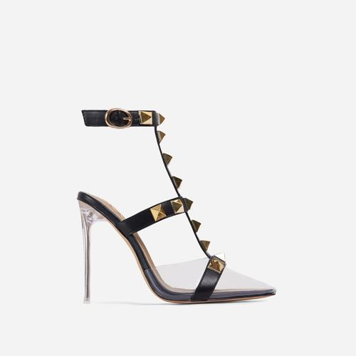 Grounded Studded Detail Pointed Clear Perspex Heel In Black Faux Leather