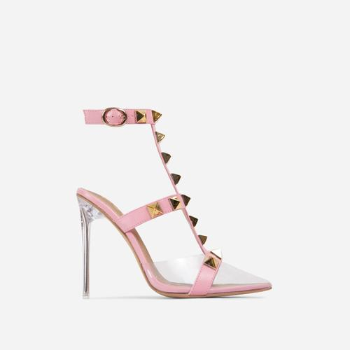 Grounded Studded Detail Pointed Clear Perspex Heel In Pink Faux Leather
