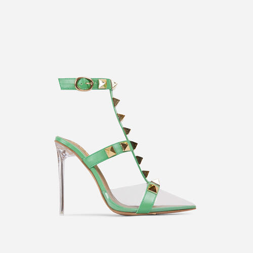Grounded Studded Detail Pointed Clear Perspex Heel In Green Faux Leather