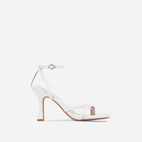 Gloss Toe Strap Detail Square Toe Heel In White Faux Leather