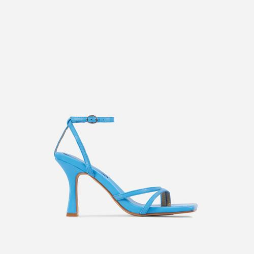 Gloss Toe Strap Detail Square Toe Heel In Blue Faux Leather