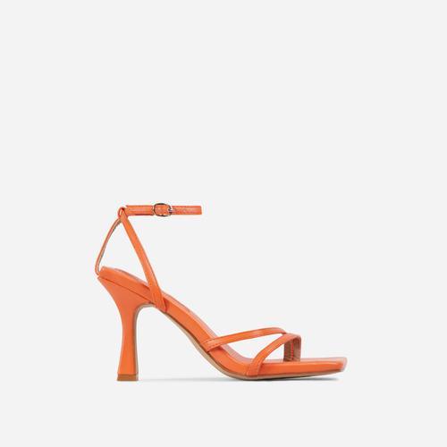 Gloss Toe Strap Detail Square Toe Heel In Orange Faux Leather
