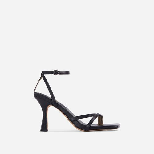 Gloss Toe Strap Detail Square Toe Heel In Black Faux Leather