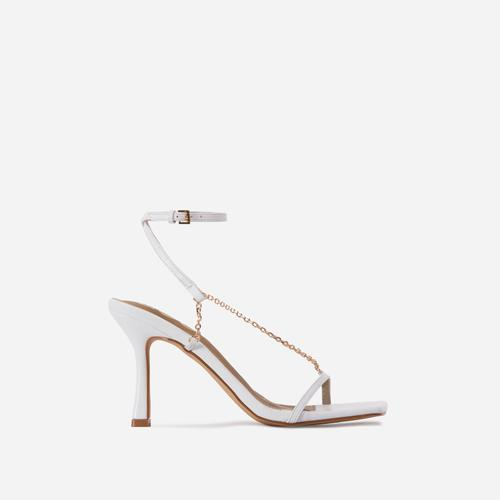The-Muse Chain Detail Strappy Square Toe Heel In White Faux Leather