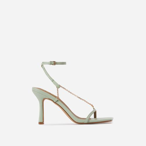 The-Muse Chain Detail Strappy Square Toe Heel In Mint Green Faux Leather
