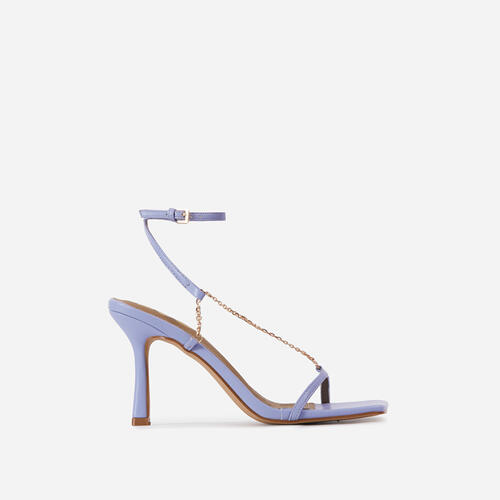 The-Muse Chain Detail Strappy Square Toe Heel In Lilac Faux Leather