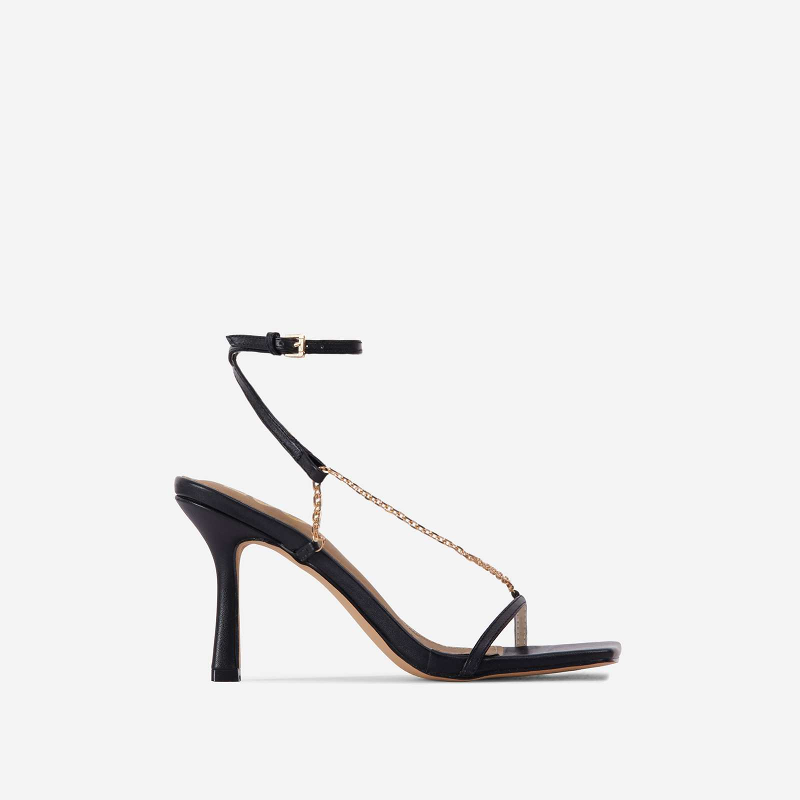 The-Muse Chain Detail Strappy Square Toe Heel In Black Faux Leather