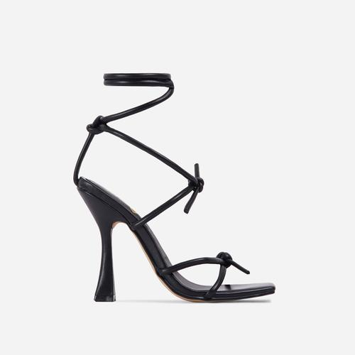 Heads-Up Knotted Detail Lace Square Toe Flared Block Heel In Black Faux Leather