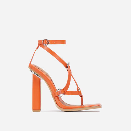 Wavelength Crisscross Square Toe Block Heel In Orange Faux Leather