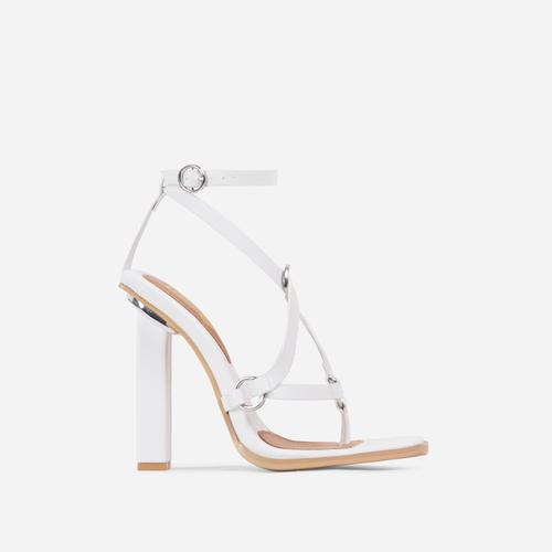 Wavelength Crisscross Square Toe Block Heel In White Faux Leather