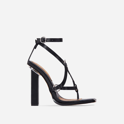 Wavelength Crisscross Square Toe Block Heel In Black Faux Leather
