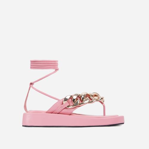Hidden-Gems Chain Thong Detail Lace Up Platform Gladiator Sandal In Pink Faux Leather