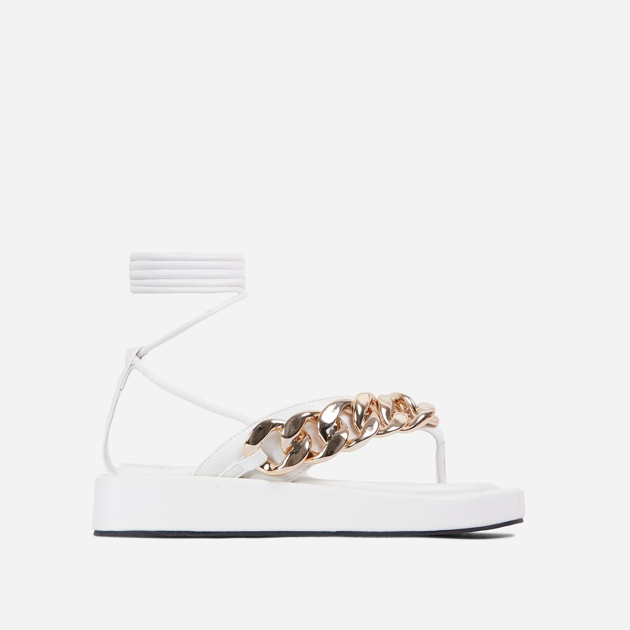 Hidden-Gems Chain Thong Detail Lace Up Platform Gladiator Sandal In White Faux Leather Image 1